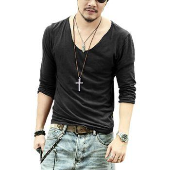 Мужские футболки 2015, мужская повседневная модная хлопковая футболка с длинным рукавом для отдыха, высококачественная футболка с V-образным вырезом, много цветов и размеров S M L XL XXL Q017