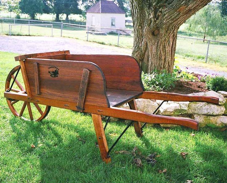 Amish Jumbo Wooden Wheelbarrow with Removable Sideboards - $624.00 - #Wheelbarrow #Gardening #AmishWheelbarrows