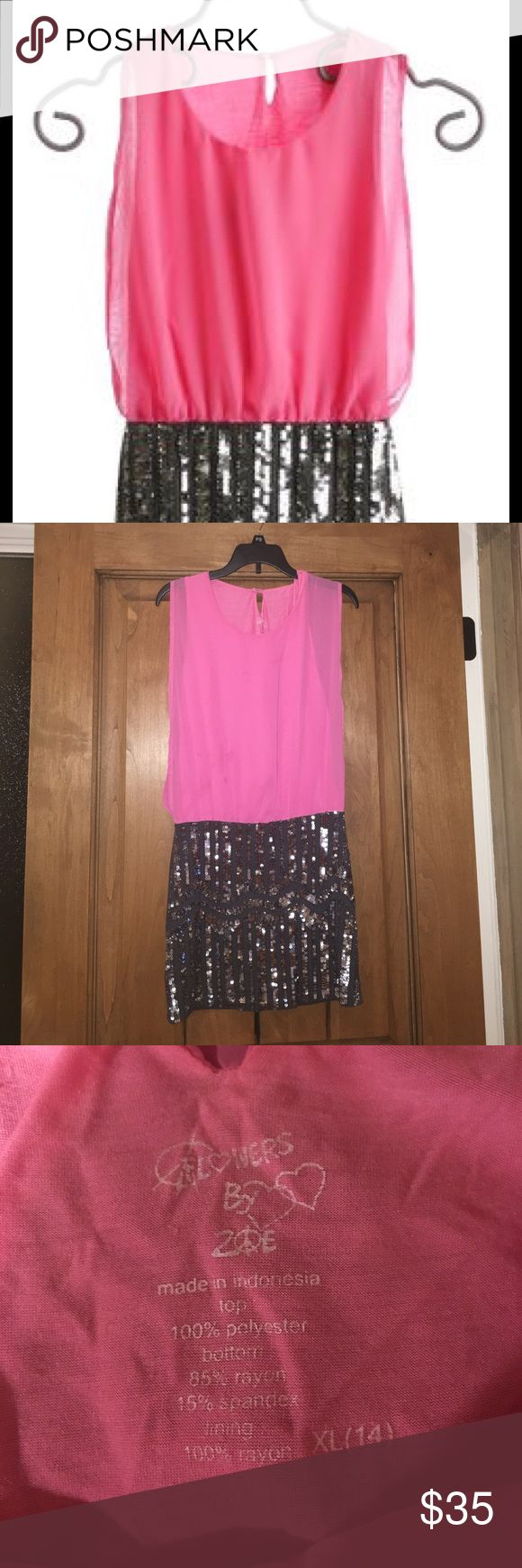Girls special occasion dress Pink and silver. Bottom part is beautiful sequin. Top is chiffon. Size XL/ 14, fits a little small. Very good condition. Flowers by Zoe Dresses Midi
