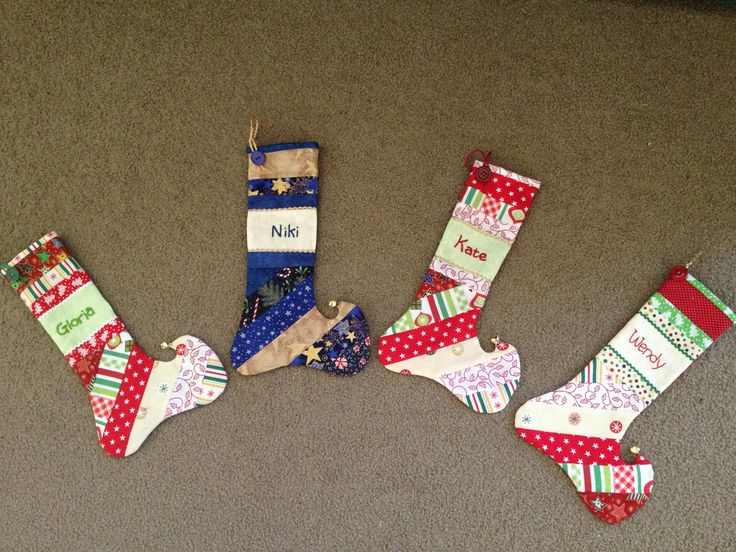 Mini Christmas stockings made from the Natalie Ross design in 'Get Red Red Ready for Christmas for the girls in 2012