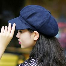 New Womens Wool Blend Berets Fashion Lady Winter Hat Beanie Fedoras Casquette Homme Bucket hats Solid Beanies Military Cap(China (Mainland))