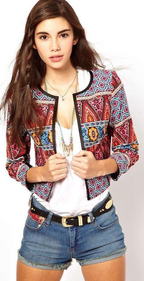 #ethnic #trend #outfitideas | Ethnic Print Jacket + Basics