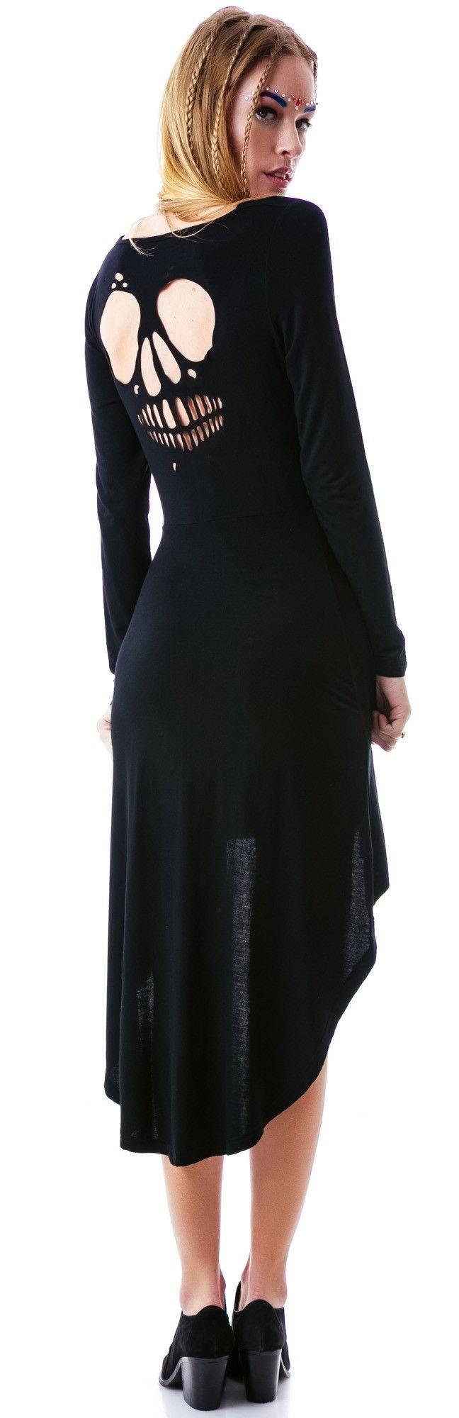 ✝☮✿★ SKULL CUTOUT DRESS ✝☯★☮ Sourpuss Clothing Skull Cutout Hi/Low Dress   Dolls Kill
