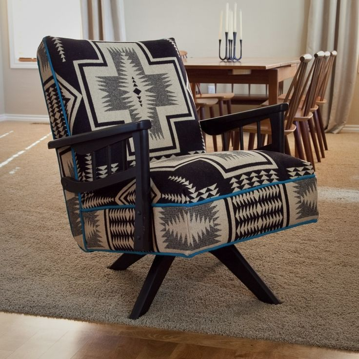 Native American Inspired Decor Pendleton Wool Upholstery, Refurbished  Chair, Painted Wood With Patina, Contrast Welt.
