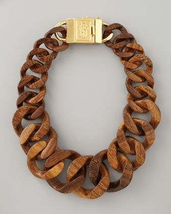 Wood necklace with gold clasp