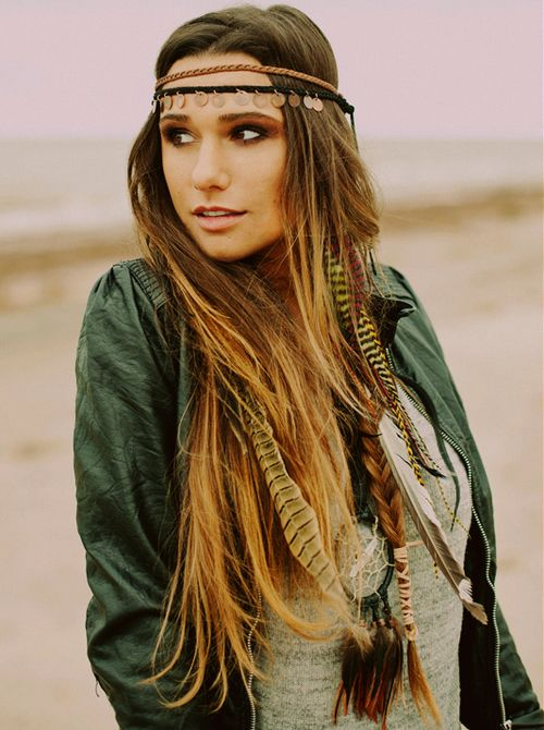 Tribal hippy ~ love the feather extensions