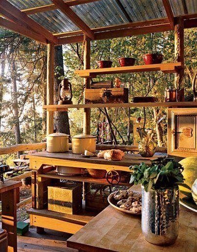 Outdoor kitchen. Metal roofing--great idea!