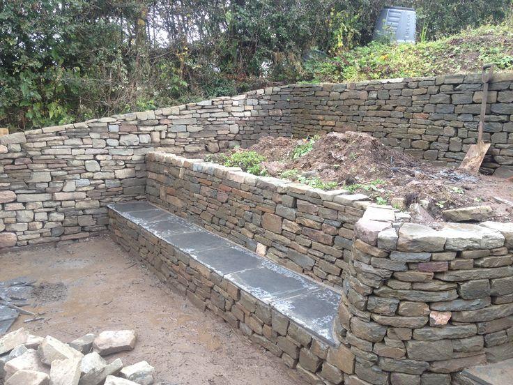 stone garden retaining wall terrace - Google Search
