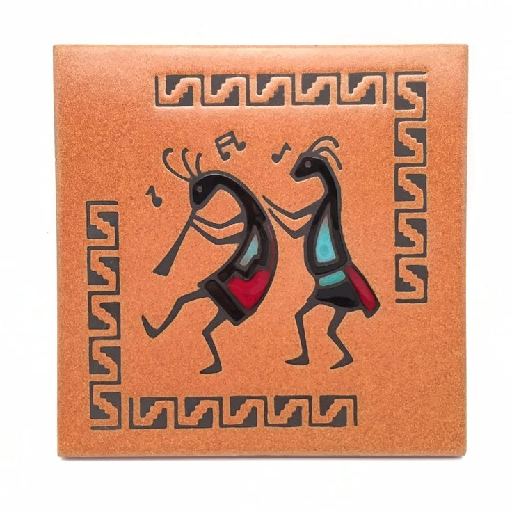 Teissedre Designs Kokopelli Music Painted Art Tile Trivet Wall Decor 6x6