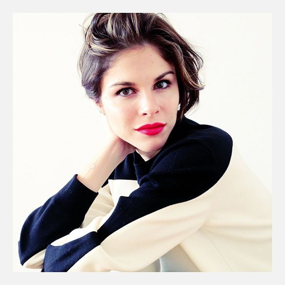 Emily Weiss from Into the Gloss in Giorgio Armani Lip Maestro & Celine sweater