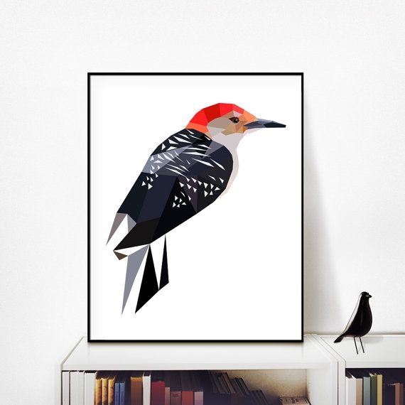 D78redbeliedwoodpecker - is a contemporary downloadable design, printable up to 20x30 / 16x20 / 20x20 / A2  *** 3 FILES INCLUDED *** ___  IMPORTANT: