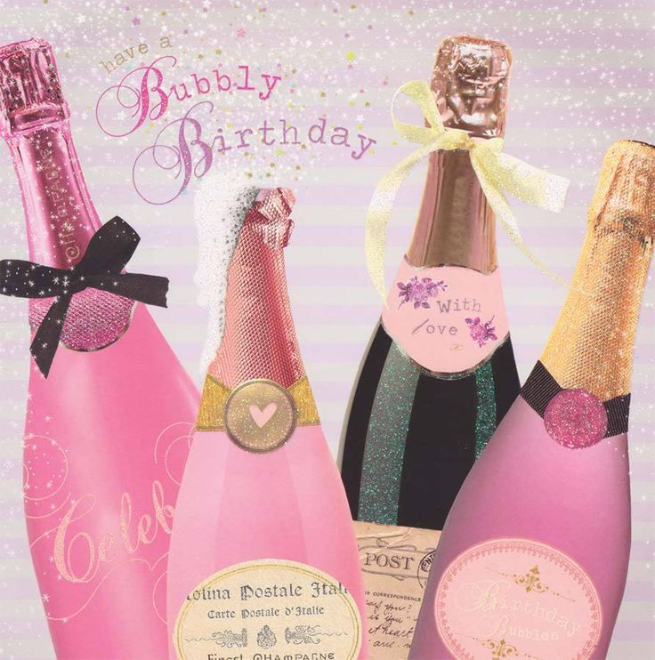 Champagne Birthday Card - Birdsong