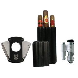 Triple Threat Cigar and Accessories Combo. Includes High end Colibri Slice Cutter, 3 cigar travel case with built in humidifier and 3 great sticks. Perfect combo kit for traveling, $39.99