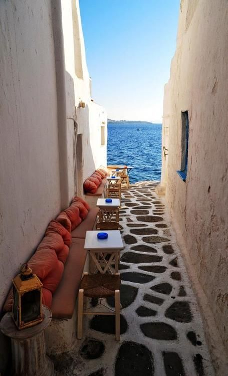 Seaside Cafe, Mykonos, Greece   See More Pictures   #SeeMorePictures
