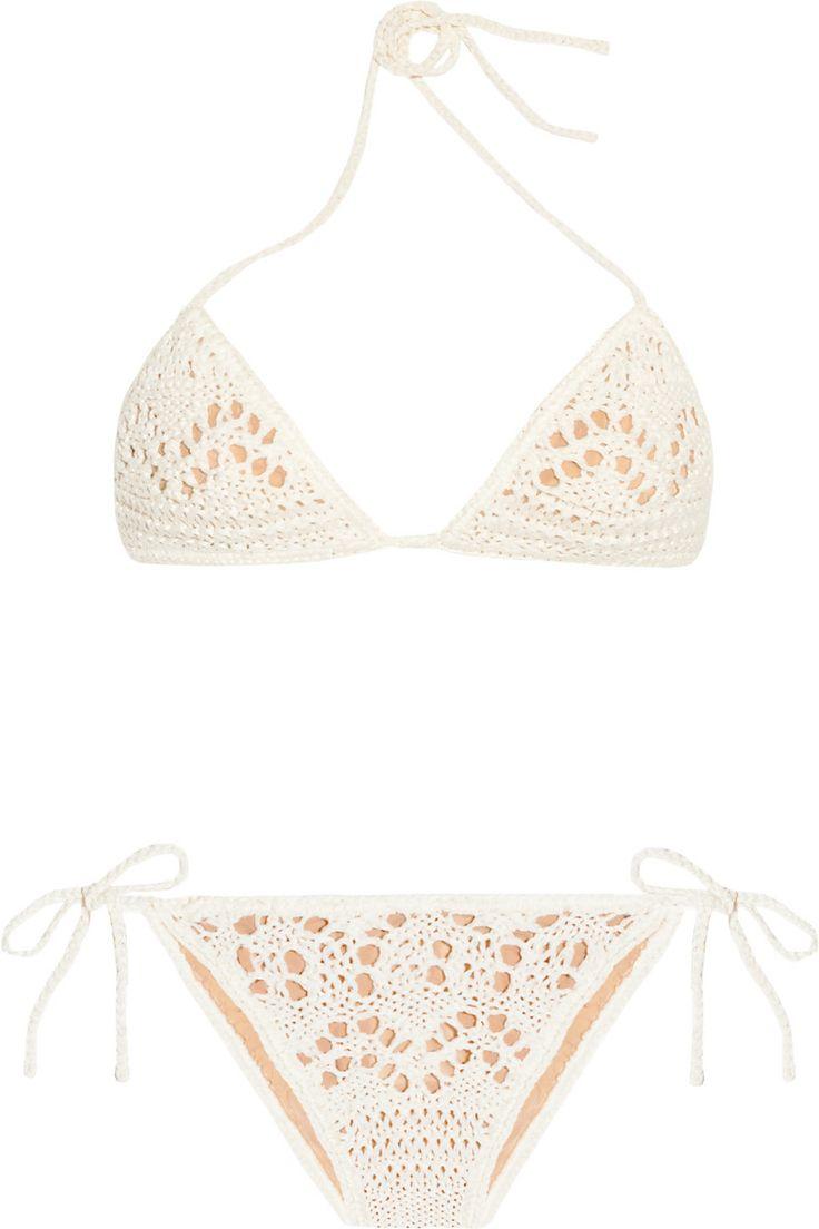 Emilio Pucci : crochet-knit cotton triangle bikini: Lace Bikini, Bridal Bikini, Find Bikinis, Crochet Bikini, Lacey Bikini, Honeymoon Bikini, Bikinis Lingerie Underwear