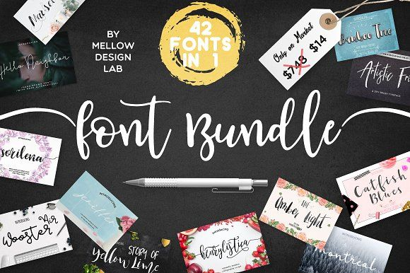 42 FONTS BUNDLE • 98% OFF by Mellow Design Lab on @creativemarket