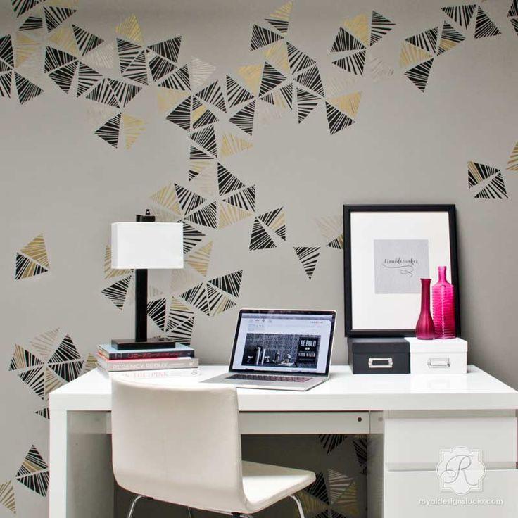 Metallic Wall Art Stencils To Decorate A Modern Room