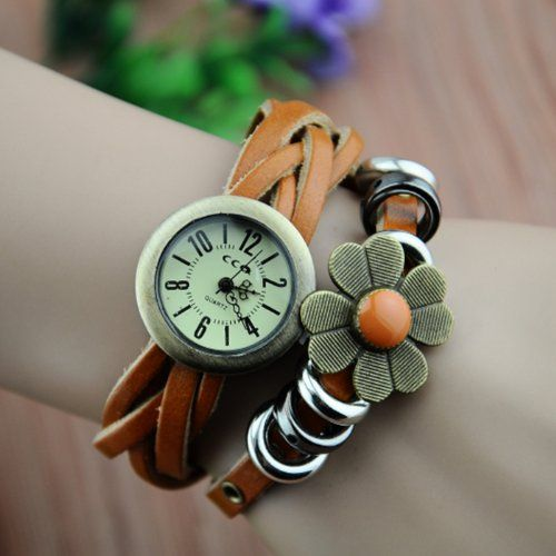 MagicPiece Handmade Vintage Style Leather Watch For Women Sunflower and Braided Belt in 7 Colors-Light Brown: Watches: Amazon.com