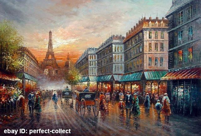 100 Handicrafts Art Oil Painting Paris Street Scene