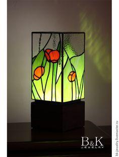 """Купить Светильник """"Маки"""" - зеленый, лампа, настольная лампа, Витраж, Витраж Тиффани, витражное стекло"""