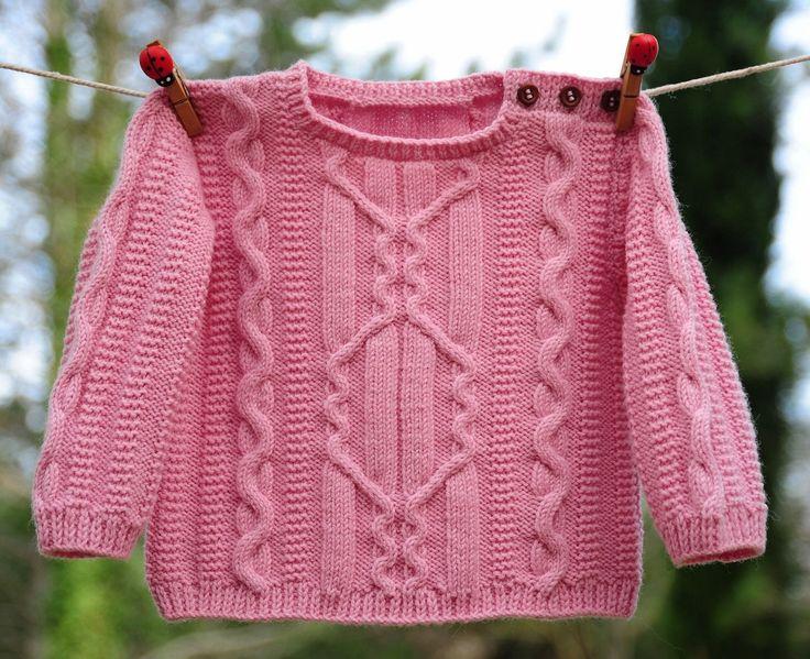 layette pull torsades rose mérinos 3-6 mois neuf tricoté main : Mode Bébé par com3pom