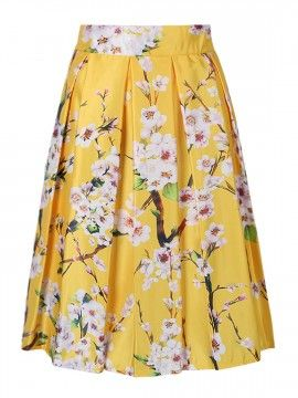Amarillo Sakura Imprimir cintura alta falda plisada del patinador