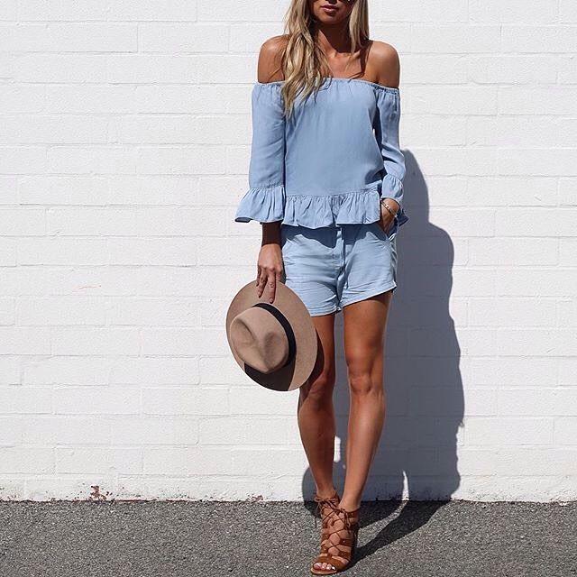 Saturday outfit sorted... Rita Tencel Top and Route 66 short .. thanks @agathavpw #tencel #doubledenim #tananddenim #offtheshoulder #bareshoulders