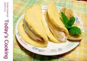「レンジで簡単!バナナオムレット!」レンジで作るので、すごく簡単に出来ます。バナナがほぼ丸ごと一本入るので、ボリュームもあります。【楽天レシピ】