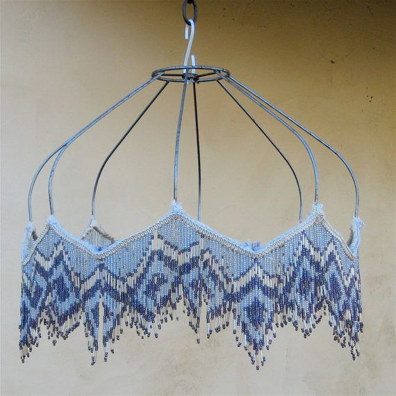 Vintage beaded lamp shade frame lamps lamp shades and for Beaded chandelier lamp shades