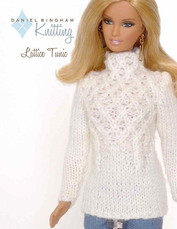 """Gyönyörű, fehér, kötött pulcsi Barbie-nak / Knitting pattern for 11 1/2"""" doll (Barbie): Lattice Tunic"""