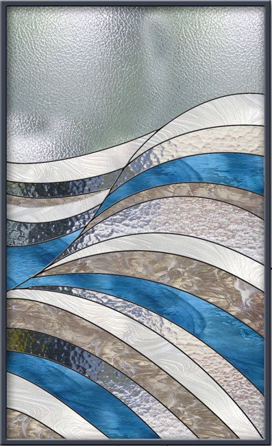 Stained Glass Window Panel - Waves Abstract Stained Glass
