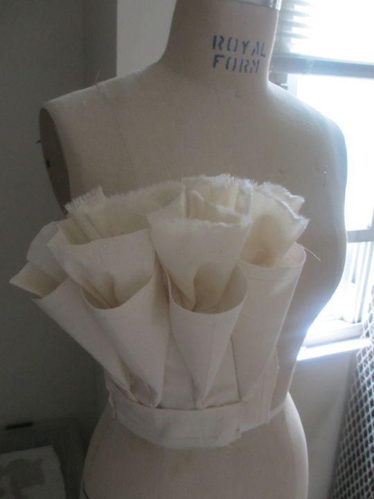 Experimental garment construction - ruffled cone bodice - fabric manipulation; creative patternmaking; moulage; sewing