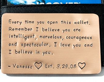 Copper Wallet Insert Card Anniversary Gift for Men by RameWorks