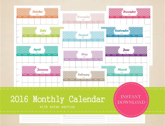 Blank Calendar With Notes Section : Printable monthly calendar with notes section