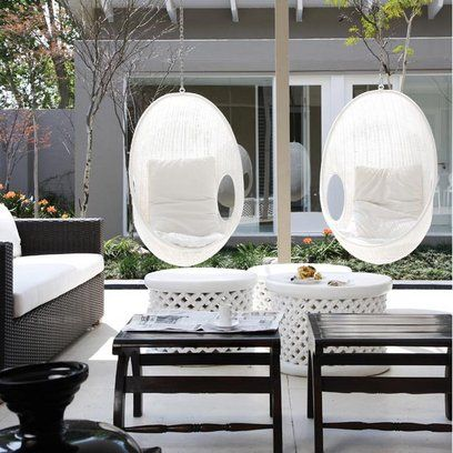 love this furniture, especially the hanging chairs: Interior, Outdoor Patio, Decorating Ideas, Outdoor Living Spaces, Hanging Chairs, Outdoor Furniture Spaces, Family Room, Outdoor Spaces, Garden