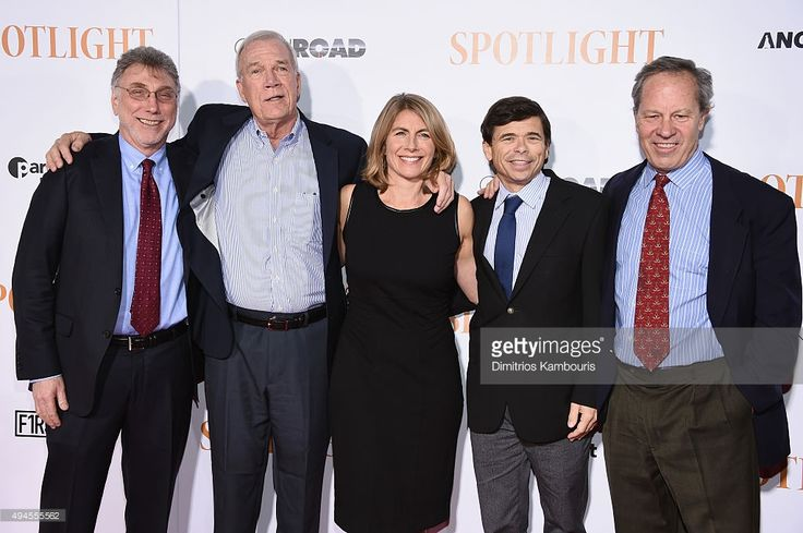 Journalists Martin Baron, Walter V. Robinson, Sacha Pfeiffer, Michael Rezendes, and Ben Bradlee, Jr. attend the 'Spotlight' New York Premiere at Ziegfeld Theater on (October 27, 2015) in New York City.