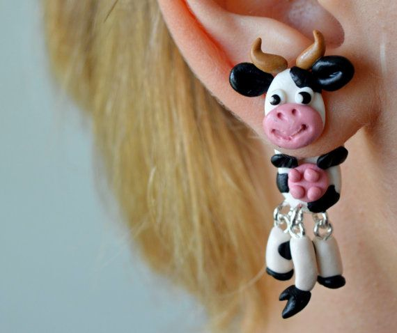 Black and white cow earringsdouble sided by JEWELRYandPLEASURE