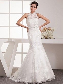 Haltered Neck Lace over Satin Mermaid Bridal Gown - USD $239.00