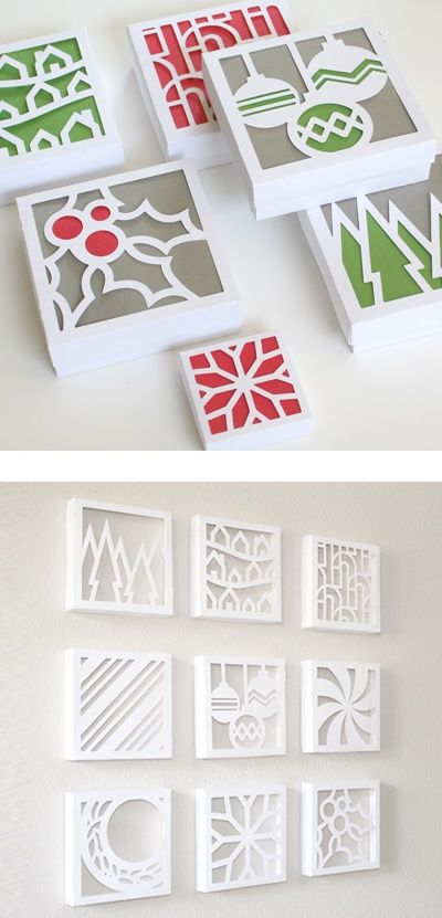 Christmas cutouts - flip over canvas, stencil, cut with x-acto knife. Glue paper to back of canvas for color.