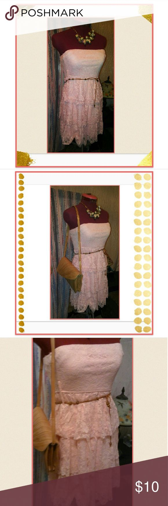 Rue21 Peach Lace Dress Rue21 Peach Lace Dress Beautiful dress by Rue21, worn once! Size medium and sure to be a hit! Add your own belt, large or small, a necklace or bag from our collection and save big!  *Vintage Eel Bag, Boho Scrabble Necklace sold separately, cord belt not included. Rue21 Dresses