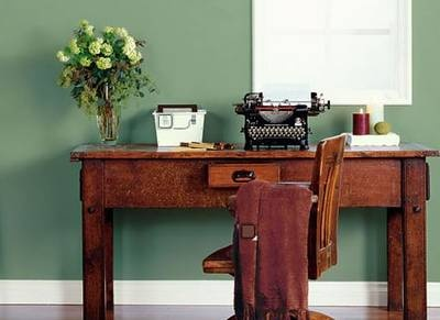 Thinking green for the master... Athenian green from Behr is in the running.