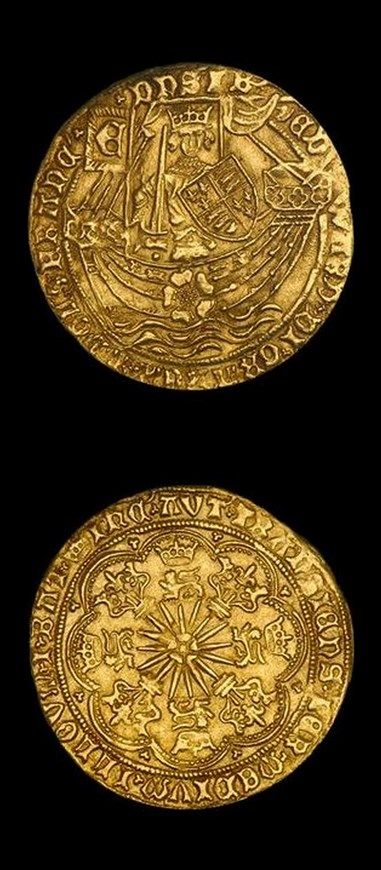 """Gold Ryal Edward IV """"light coinage"""" (1461-1470). The gold ryal, also known as the rose noble, was an English gold coin first issued in 1464, during the """"first reign"""" of Edward IV (1461-1470). Issued sporadically until the time of James I, the ryal represents one of the more scarce and challenging series of english coins for the serious collector; requiring deep pockets and patience to make significant headway."""
