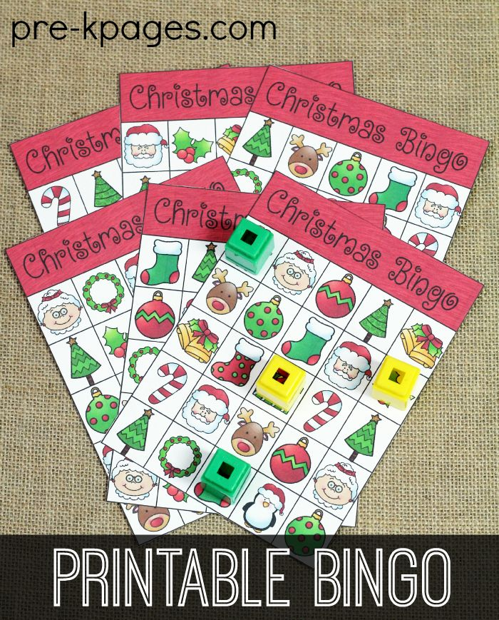 Printable Christmas Bingo for Preschool and Kindergarten