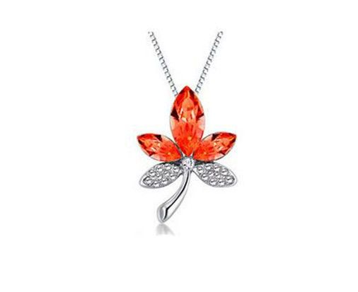 Fashion Womens Maple Leaf Red Crystal Rhinestone Silver Chain Pendant Necklace - https://barskydiamonds.com/necklaces/