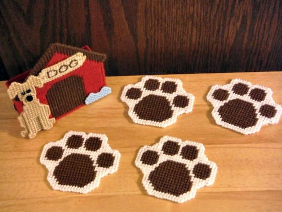 In The Dog House Coaster Set Plastic Canvas by ShanaysCreation