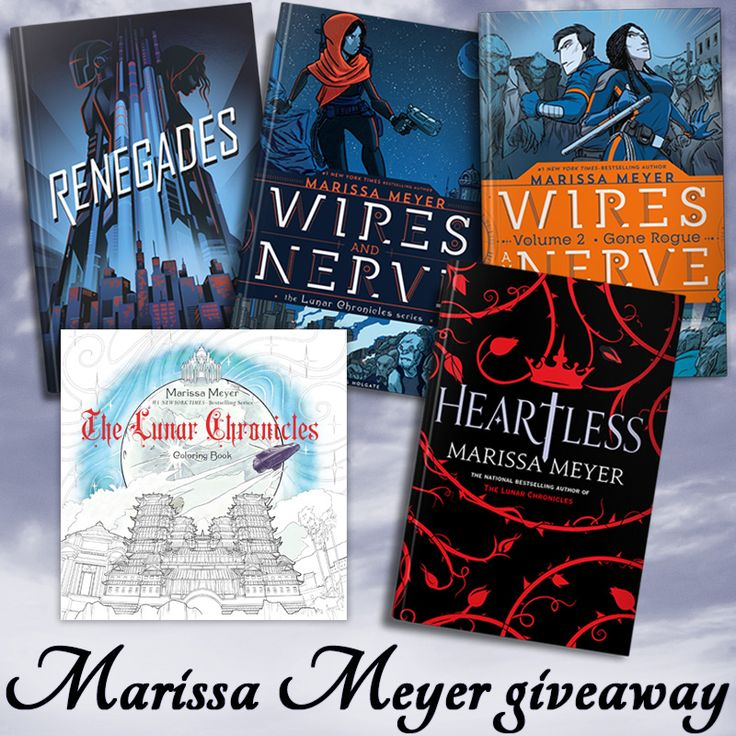 Love Marissa Meyer's blend of science fiction and fairy tale retellings? Then this giveaway is for you! One lucky reader will win preorders of her upcoming books, Renegades and Wires and Nerve Vol. 2, as well as Wires and Nerve Vol. 1, Heartless, and the new Lunar Chronicles coloring book. Open worldwide (see rules for details)! This giveaway is sponsored by YA authors Raven Oak (Amaskan's Blood), Emily Martha Sorensen (The Keeper and the Rulership), Joanne Macgregor (Recoil), Emma Savant…