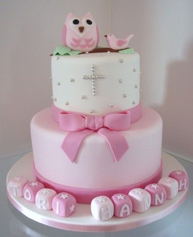 Pink Owl Christening #cake by  Takes the Cake - Children
