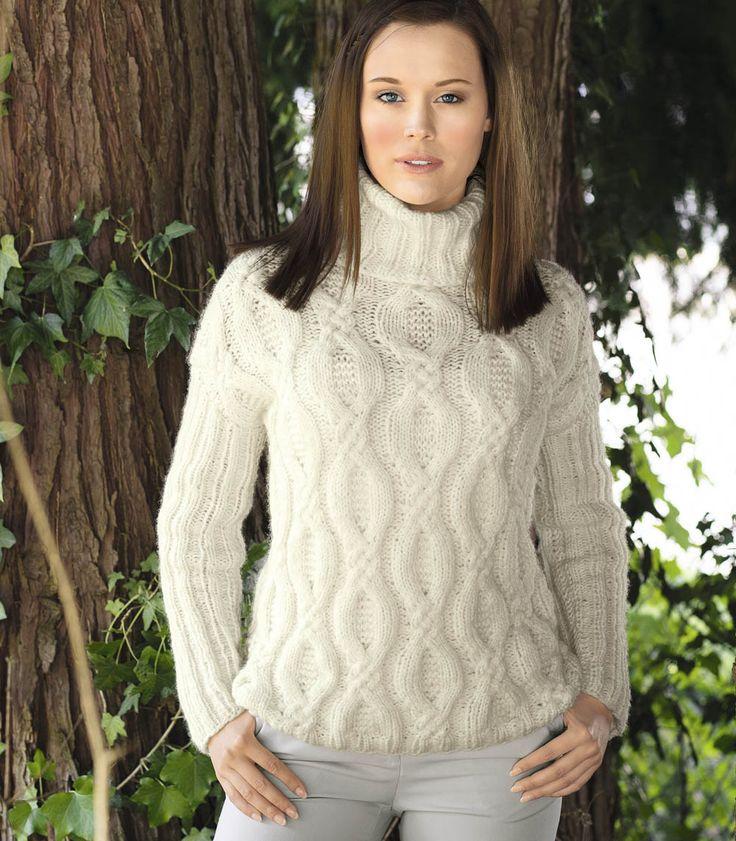 Белый свитер с широкими «косами» - схема вязания спицами. Вяжем Свитеры на Verena.ru