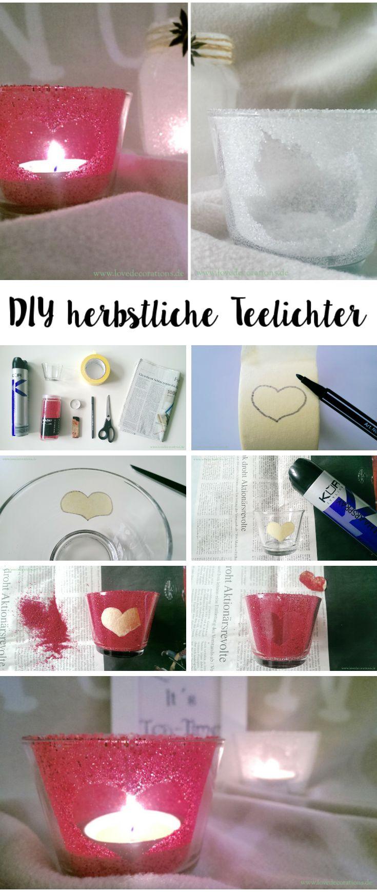 DIY herbstliche Teelichter mit Haarspray + Zucker in 2 Minuten