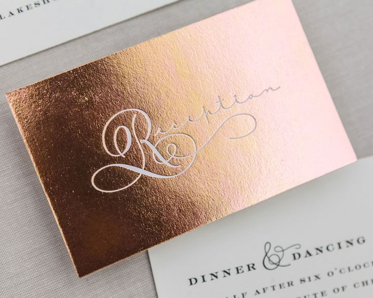 Lovely lettering is fluid throughout the suite. The couple's names are accentuated by a metallic foil drop cap that becomes a monogram. The L-O-V-E envelope liner is an unexpected detail. Pricing overview Set includes: One color invitation with foil stamped initials One color reply card printed on one side Mailing envelope with printed return address …